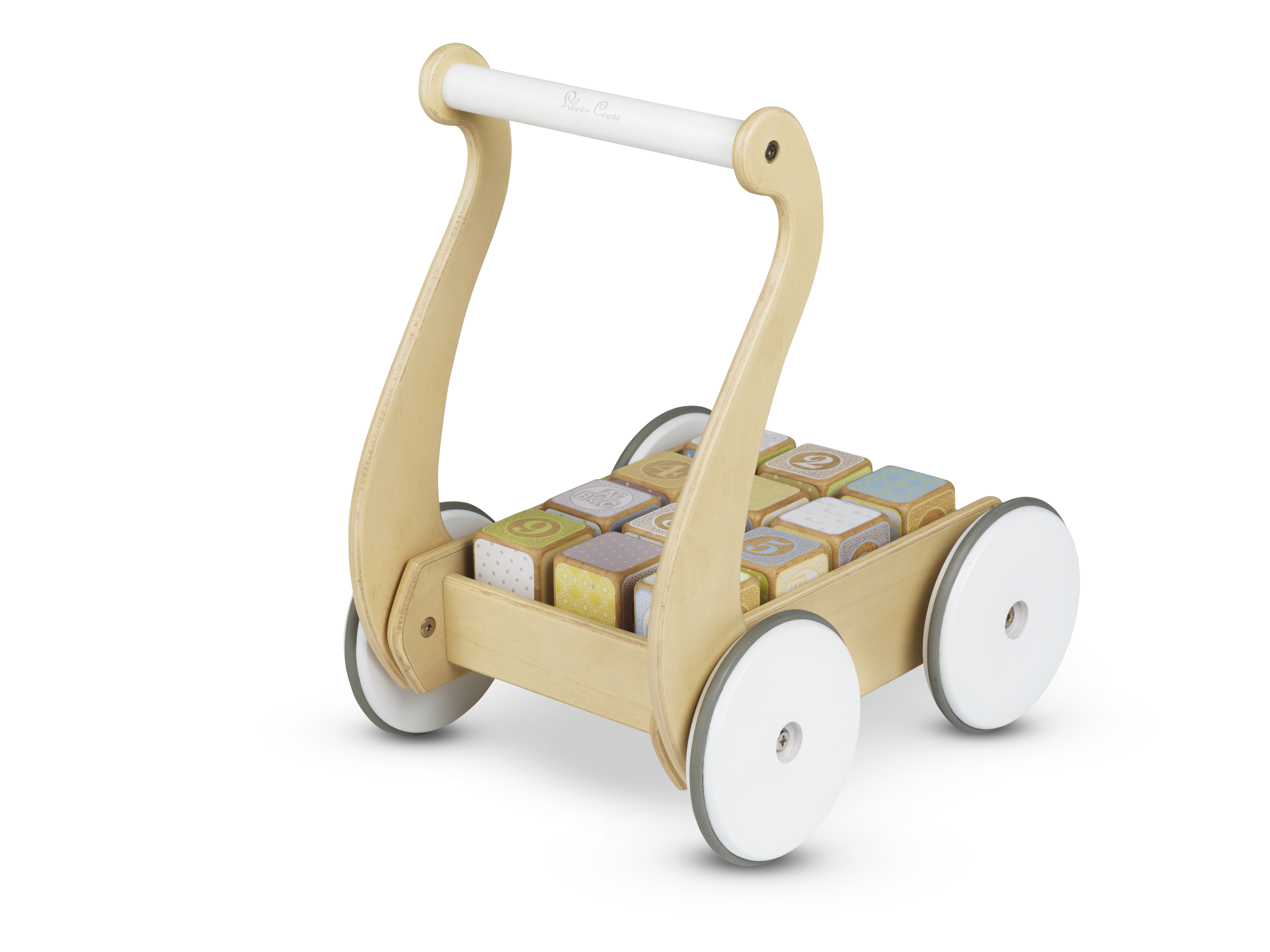 Classic Wooden Push Along with Blocks Rear