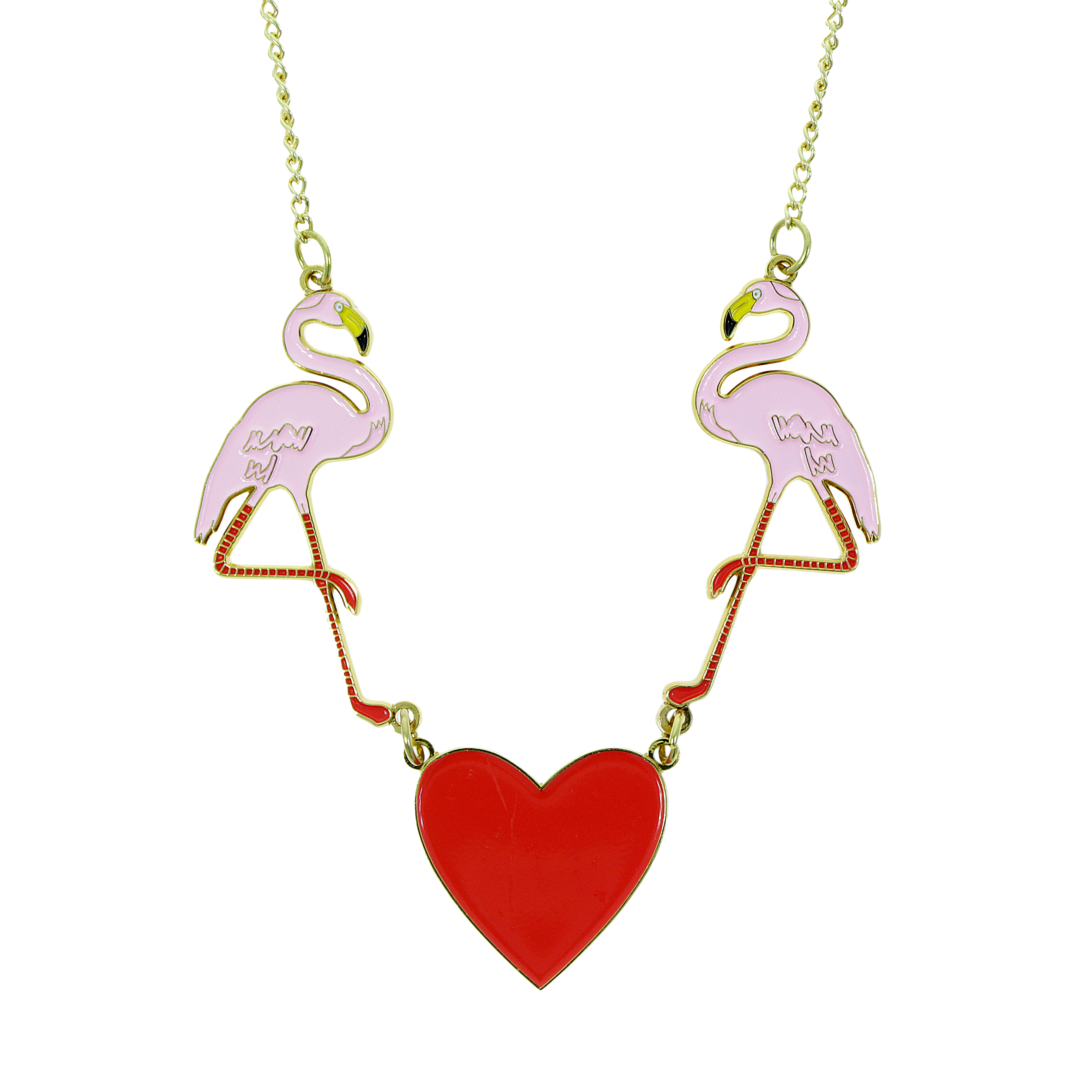 Flamingo and heart enamel necklace, £35.00 www.nhmshop.co.uk