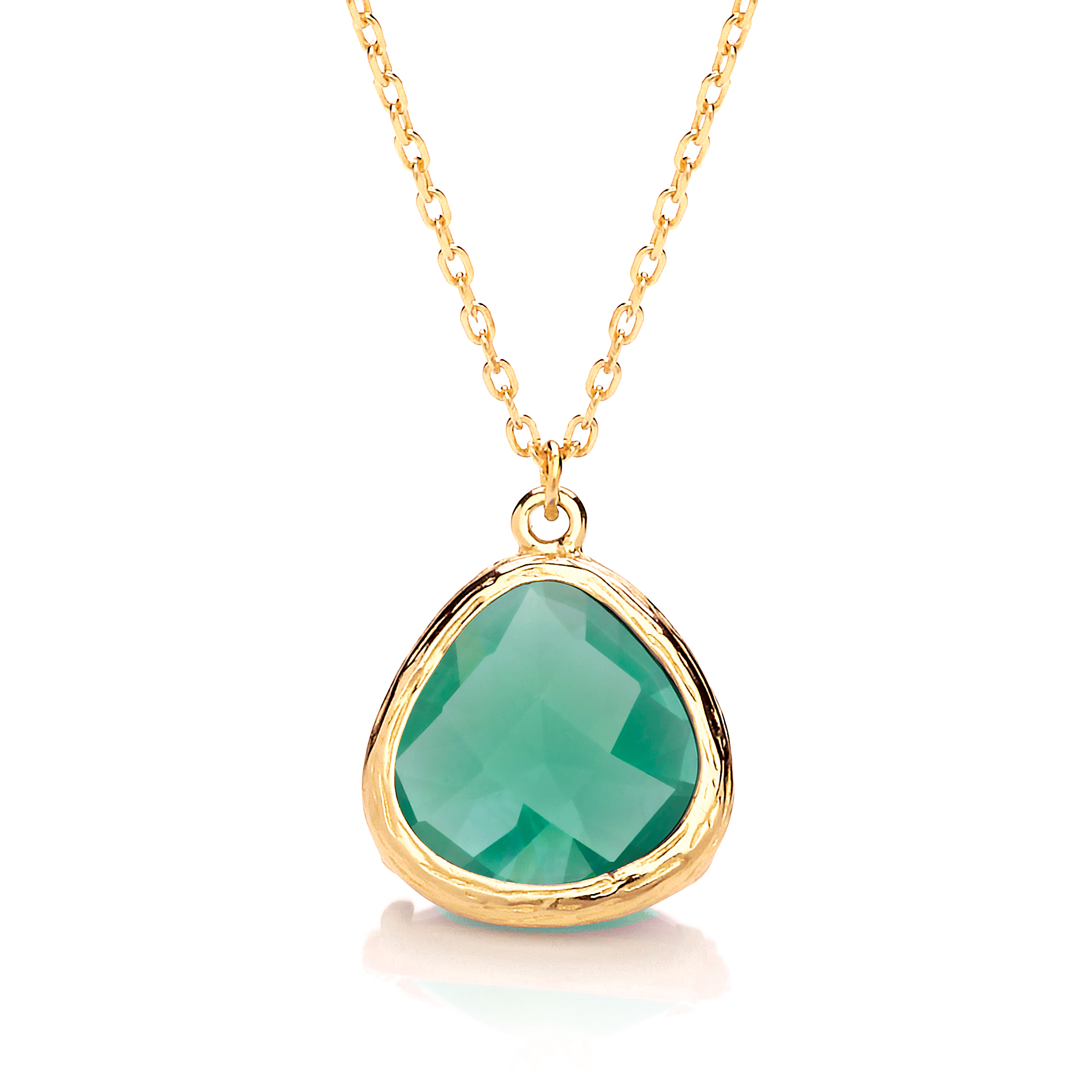 Green Crystal and Yellow Gold Necklace £39.99 www.daviddeyong.co.uk