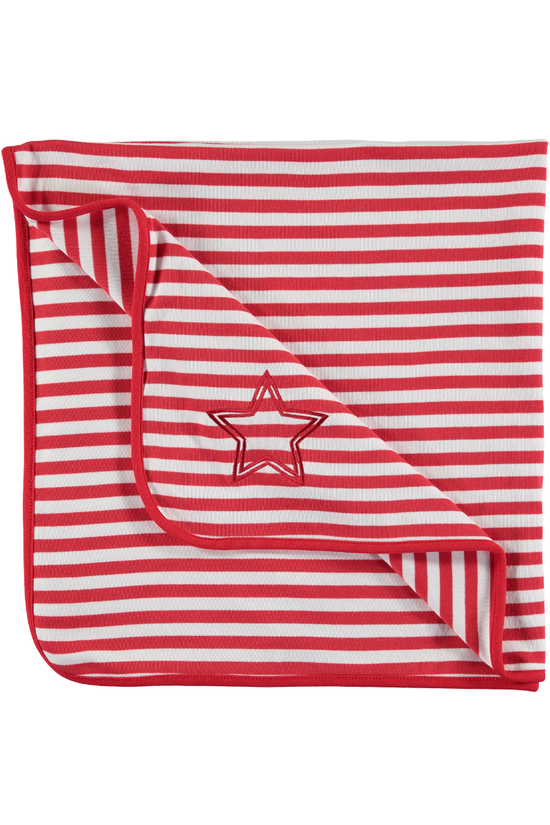 WARMIN' red stripe blanket www.rockinbaby.com